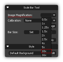 Scale Bar Tool box Magnification