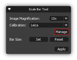 Scale Bar Tool box Manage